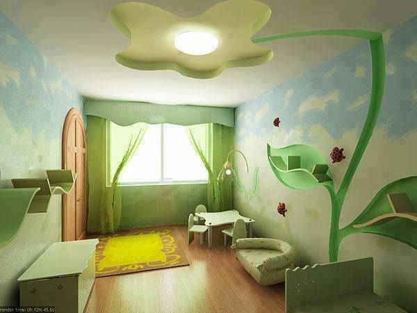 green deco ideas for kids room yellow carpet table