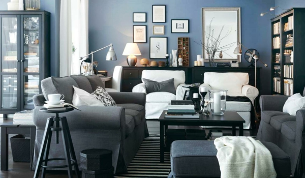 gray blue wall paint dove blue color scheme living room ideas