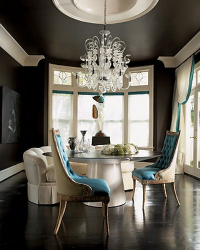Grey fantastic ceiling dining room glass table design