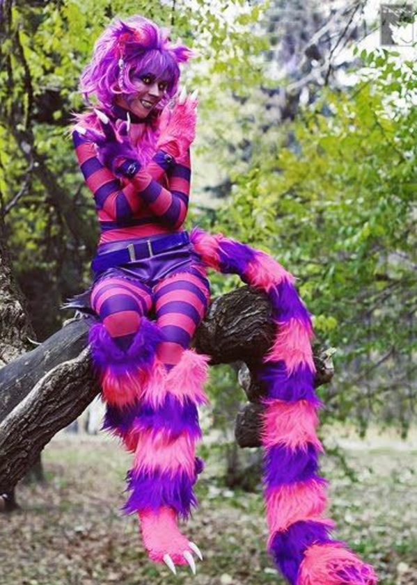 grooming cat costume pink purple stripes carnival