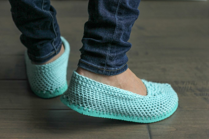 zapatillas de ganchillo patrón crochet ideas de vida verde claro