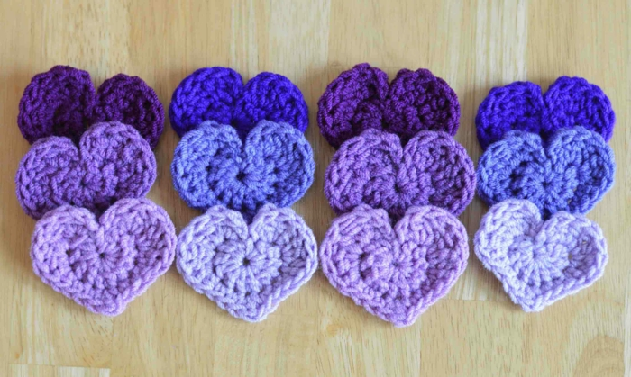 crochet pattern heart purple blue deco ideas