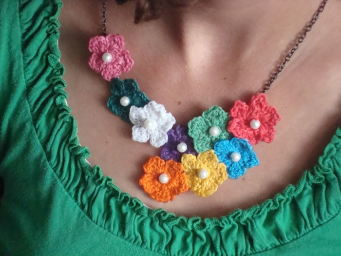 crochet ideas collar de colores flores diy accesorios