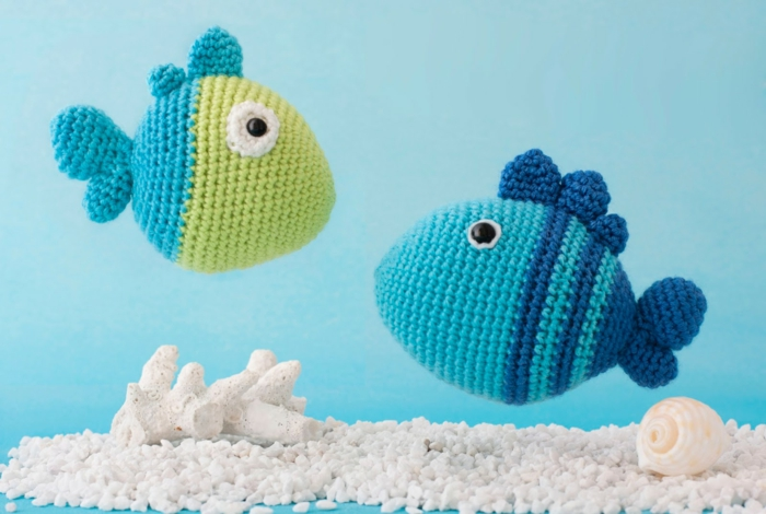 crocheted animals tinker fish deco ideas