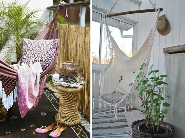 hammock balcony hanging chair hanging throw pillow side table plant