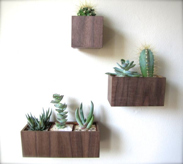 hanging flower pots indoor plants wall decor flower container wood