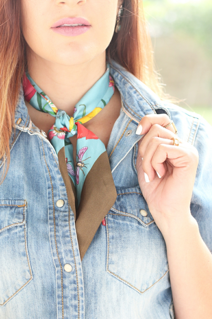 neckerchief bindeн silk spring variants to tie and wear wrapped sky blue