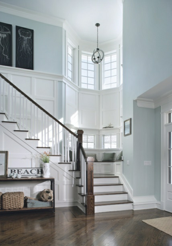 bright wall colors light blue staircase