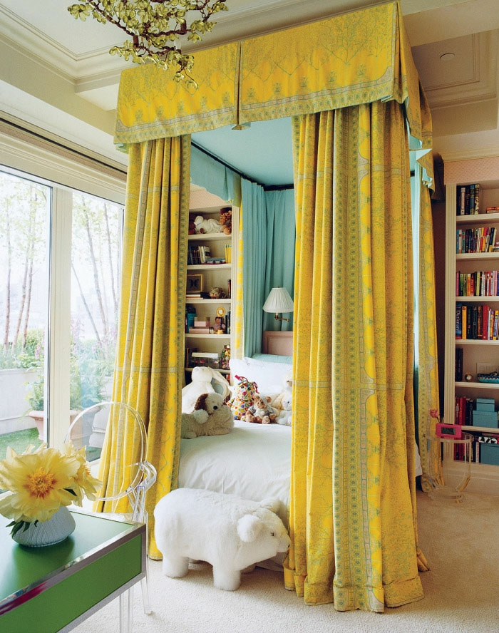 bedside curtain sky bed gold yellow