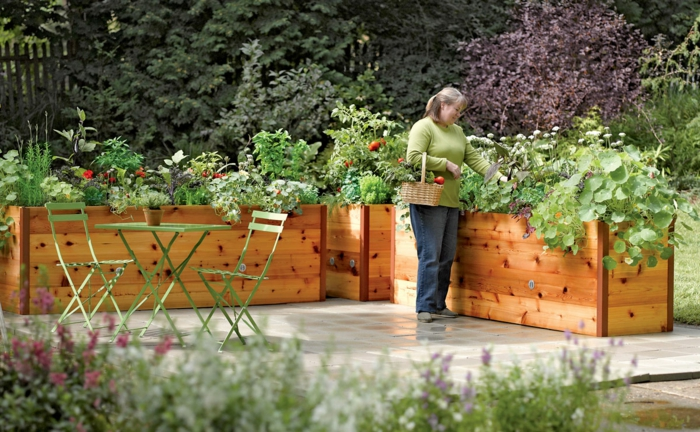 raised bed garden landscaping green garden furniture