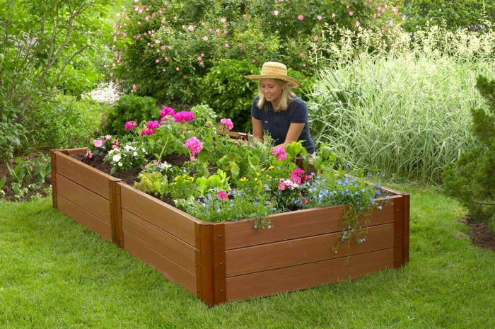 raised bed wood garden plants design ideas