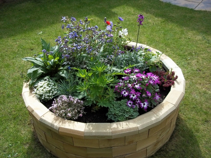 raised bed round design beautiful flowers garden ideas