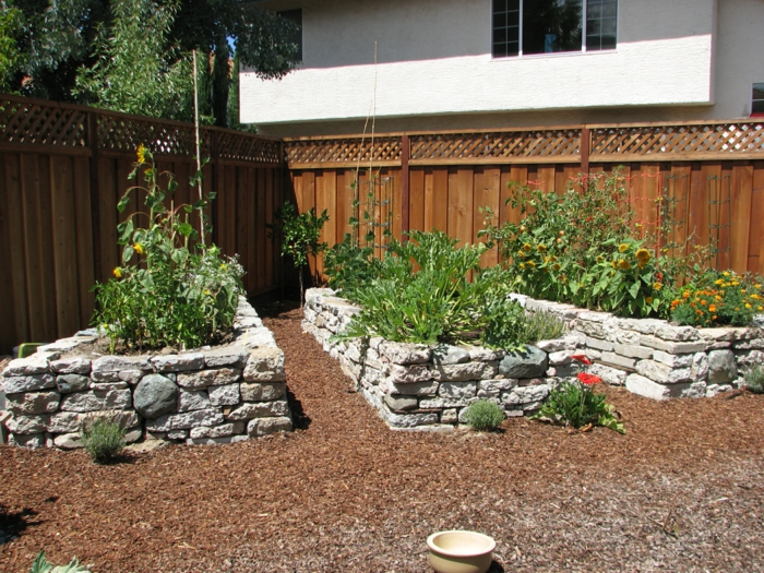 raised beds stone design garden plants garden fence