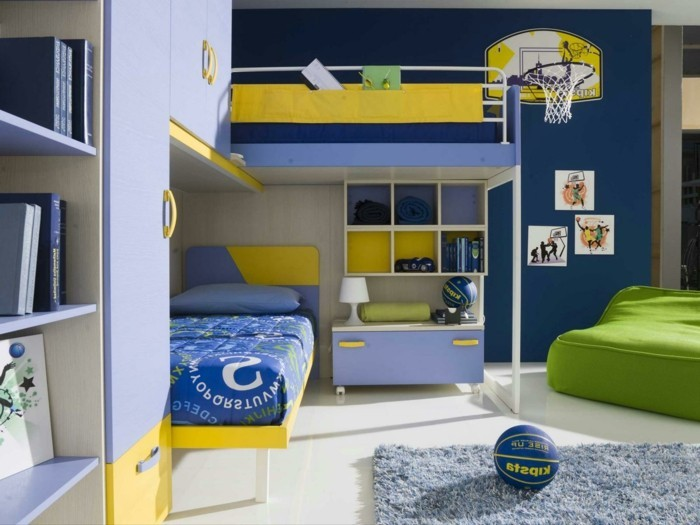 high bed with wardrobe dark blue wall functional children's furniture