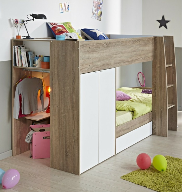 high bed with wardrobe elegant wood floor green carpet