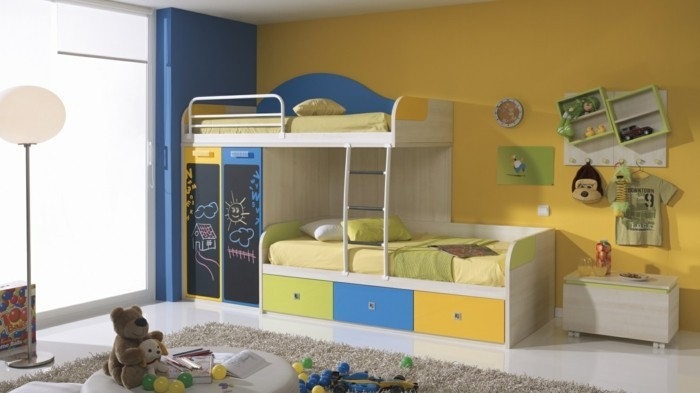 high bed with cabinet colored design creative solution