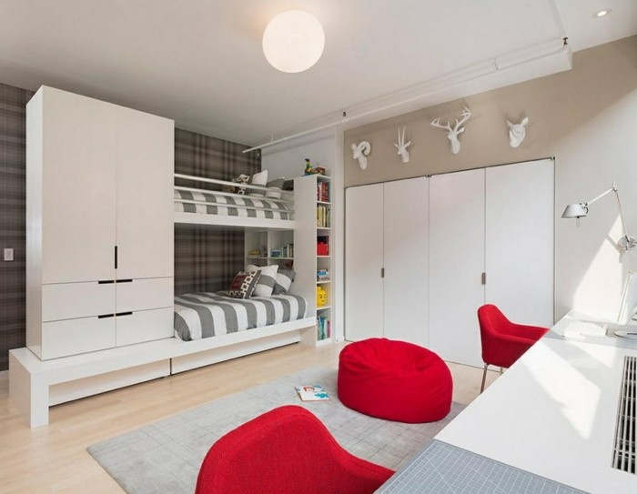 loft bed with wardrobe functional design red seating furniture