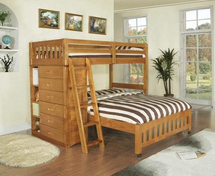 high bed with cabinet wood model bright wall plant