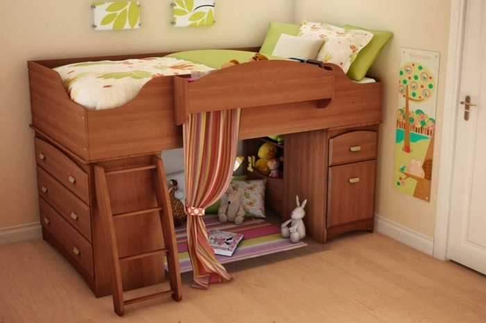 high bed with wardrobe children's room set up ideas