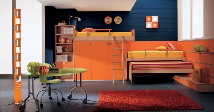 high bed with cupboard orange red carpet gray floor tiles