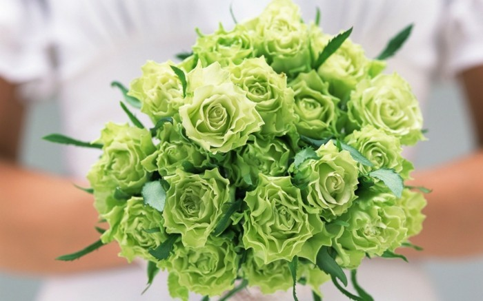 wedding bouquet of green roses