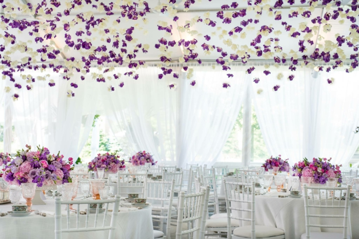 Wedding decor trends purple pink flowers roses