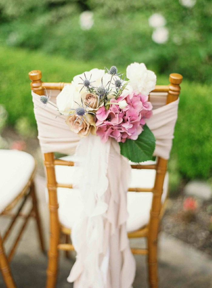 wedding decoration trends chair hydrangea roses