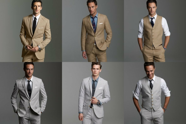 wedding fashion mens suits groom in gray or beige
