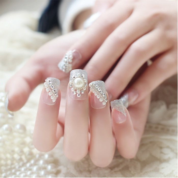 wedding nails pictures nail design ideas rhinestones beads
