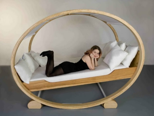 wooden oval shape upholstered bed swing design attractive