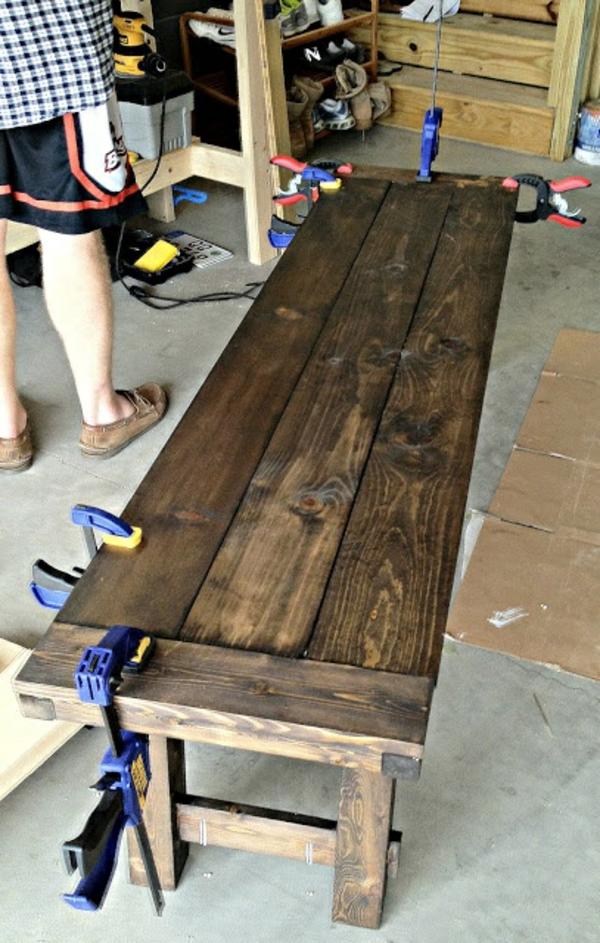 wooden bench build yourself diy
