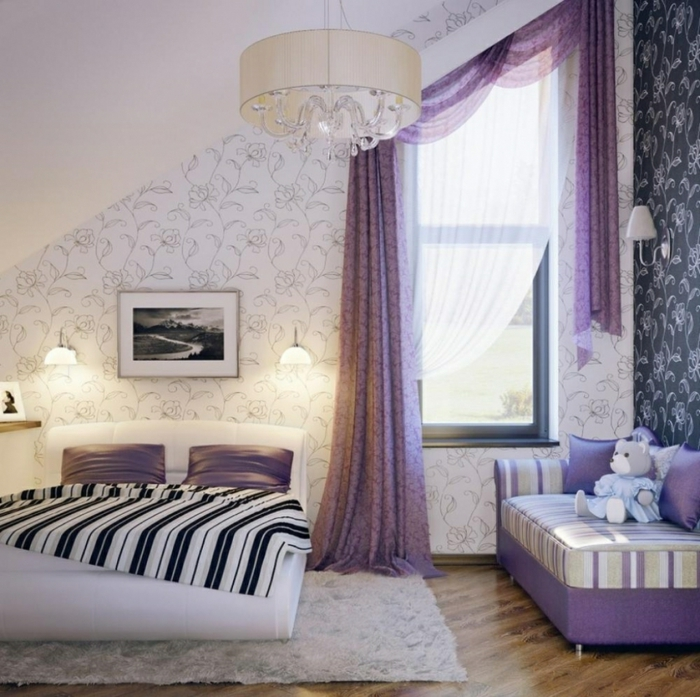 attic furnishings small bedroom purple accents