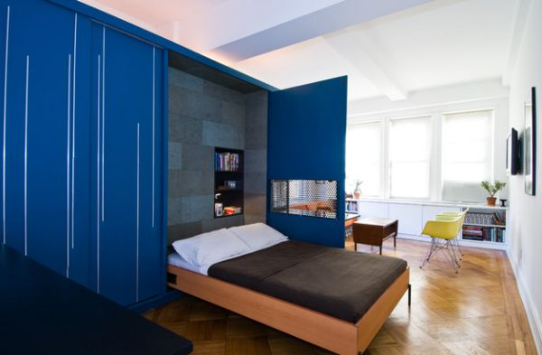 intelligent designs with folding bed cobalt blue cabinets