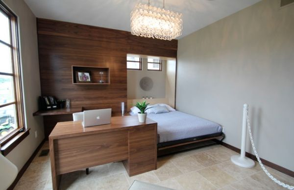 Smart designs with folding bed desk and wall in dark wood