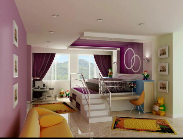 interior design ideas for kids room loft bed with staircase sofa