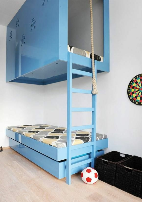 boys room set up blue bunk staircase