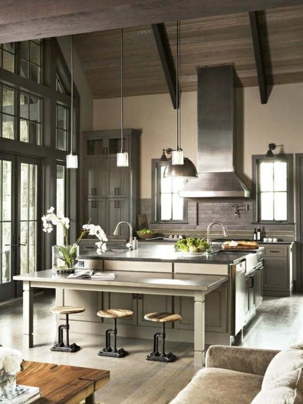 kitchen home decor steel wood ceiling