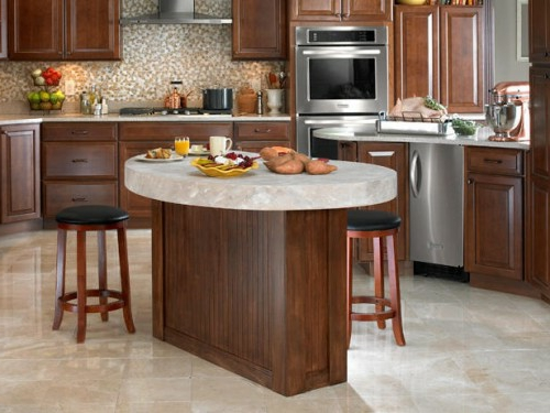 kitchens made of walnut wood and marble