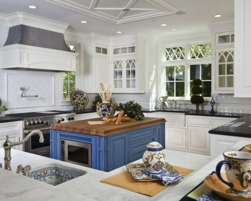 kitchens in cobalt blue with microwave