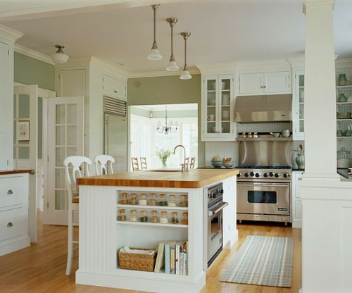 kitchen island with built-in shelf