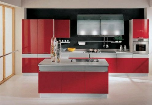 kitchen island with sink in coral red