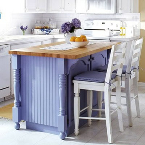 kitchens island rustic in purple