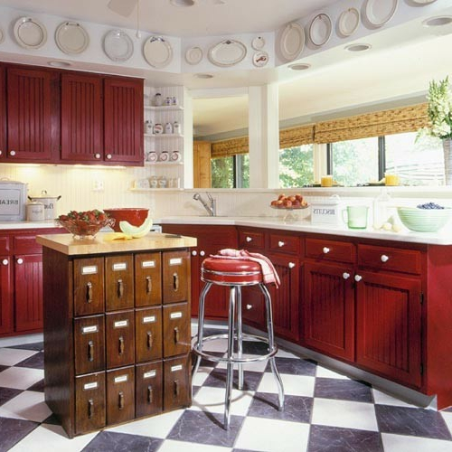 kitchen island vintage style with many compartments