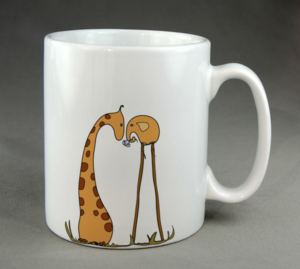 Coffee cup itself painted funny animals
