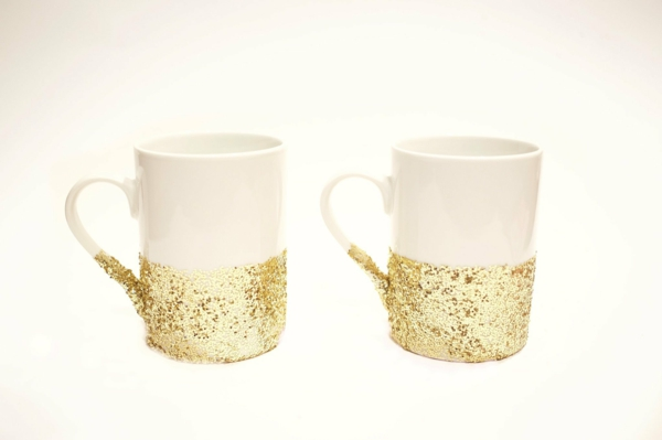 coffee cup design yourself gold glitter