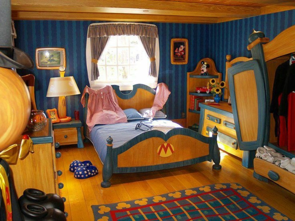 Children's bedroom in blue and gold carpet