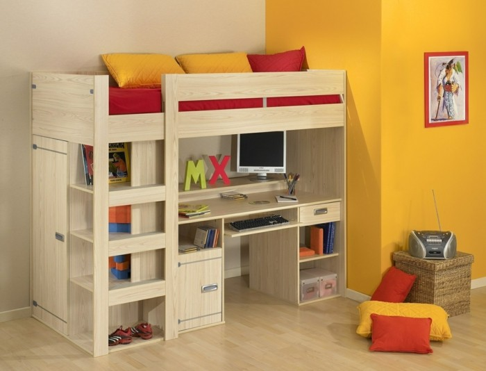 children's high bed design cabinet shelves bin