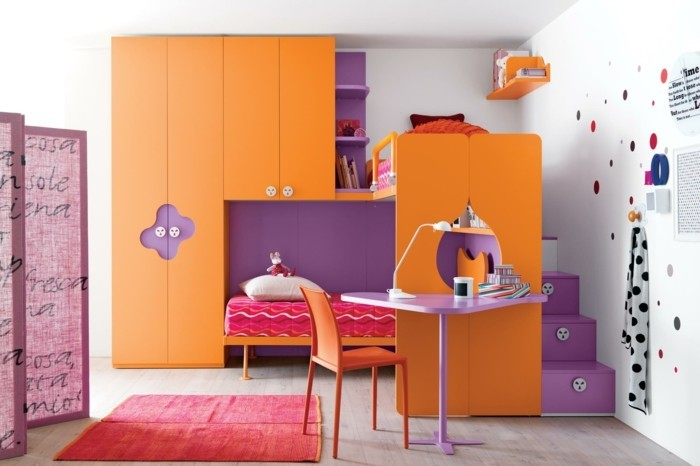 children's high bed orange purple combine red carpet