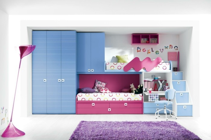 children's high bed wardrobe purple carpet girl's room set up