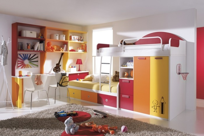 children's high bed cupboard drawers beige carpet lighter floor